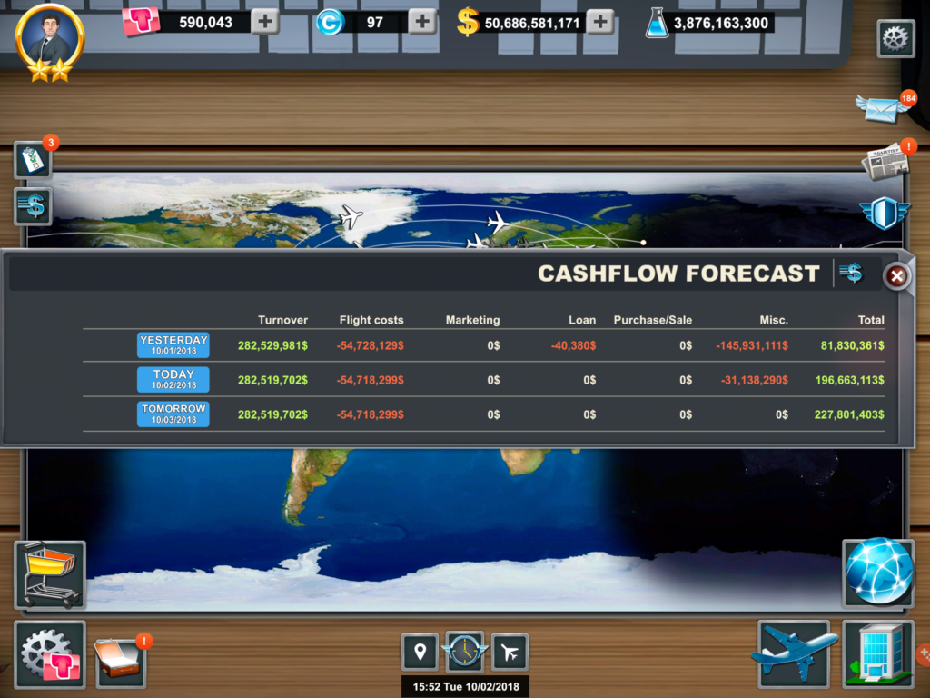 how does the cash flow forecast work airlines manager help