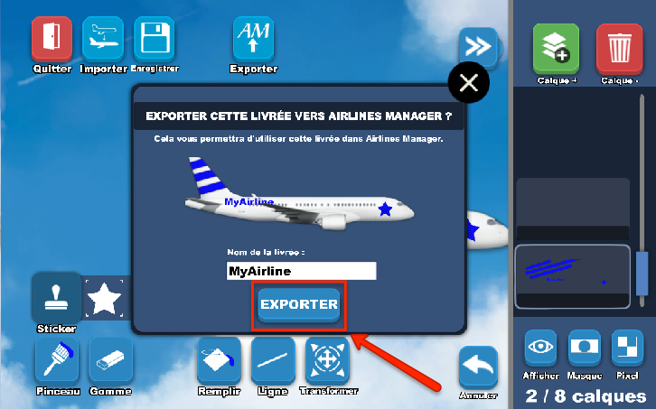 Nommer la livrée et exporter
